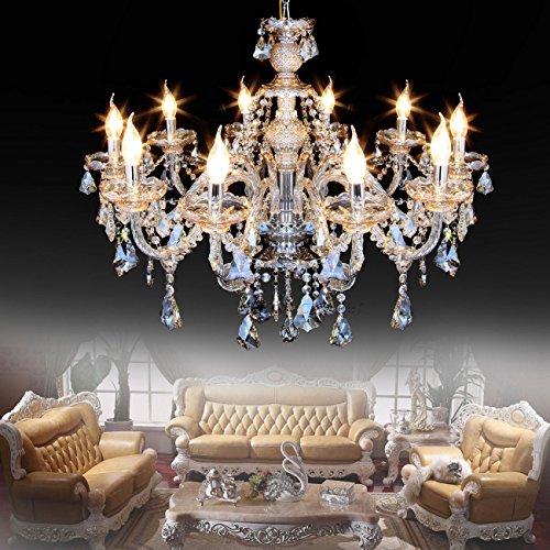 Ridgeyard 25.6 x 35.4 Inch Modern Luxurious 10 Lights K9 Crystal Chandelier Candle Pendant Lamp...